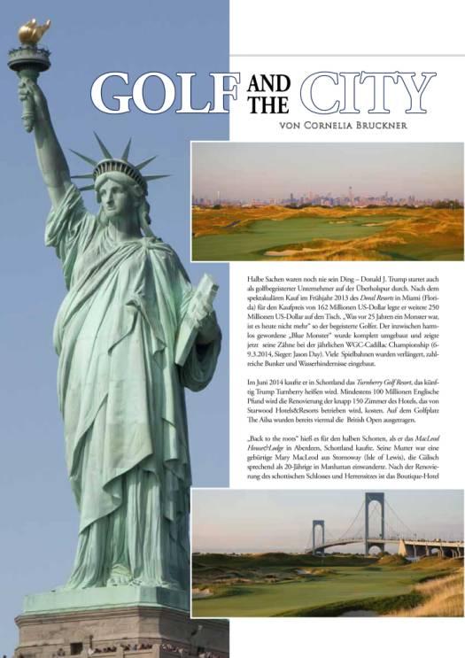 GOLFWOMEN berichtete in der Oktoberausgabe 2014 über den neuen Golfplatz in New York