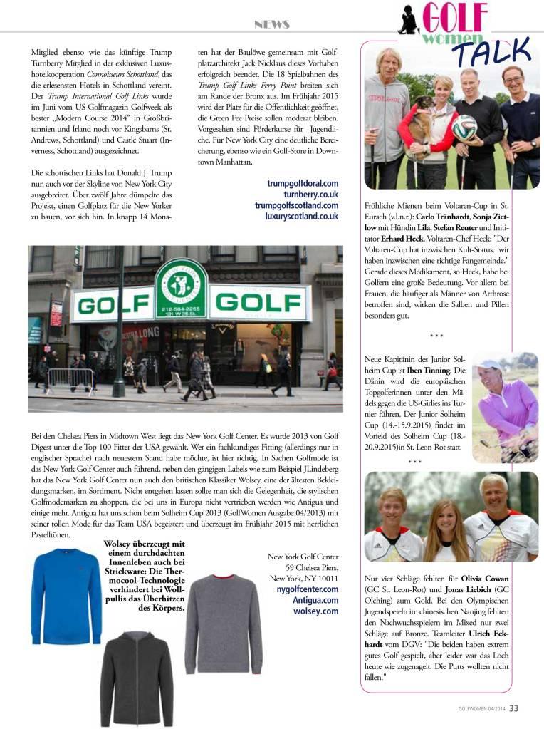 Fortsetzung der Berichterstattung GolfWomen Ausgabe 04/2014